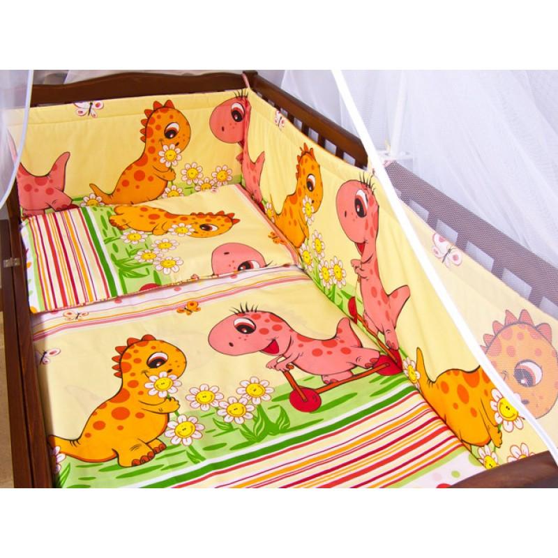 Детское постельное белье и защита (бортик) в детскую кроватку (дино розовый)