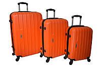 Набор дорожных чемоданов на колесах Siker Line набор 3 штуки Оранжевый, фото 1
