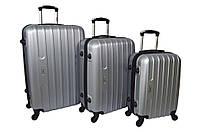Набор дорожных чемоданов на колесах Siker Line набор 3 штуки Серебряный, фото 1