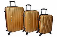 Набор дорожных чемоданов на колесах Siker Line набор 3 штуки Золотой, фото 1