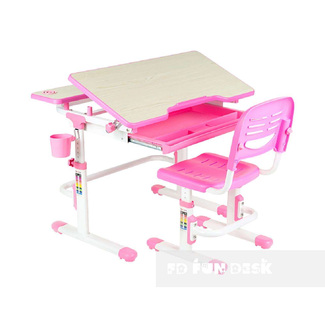 Растущая парта + стульчик для школьника Fundesk Lavoro Pink - ОПТОМ ДЛЯ ШКОЛ