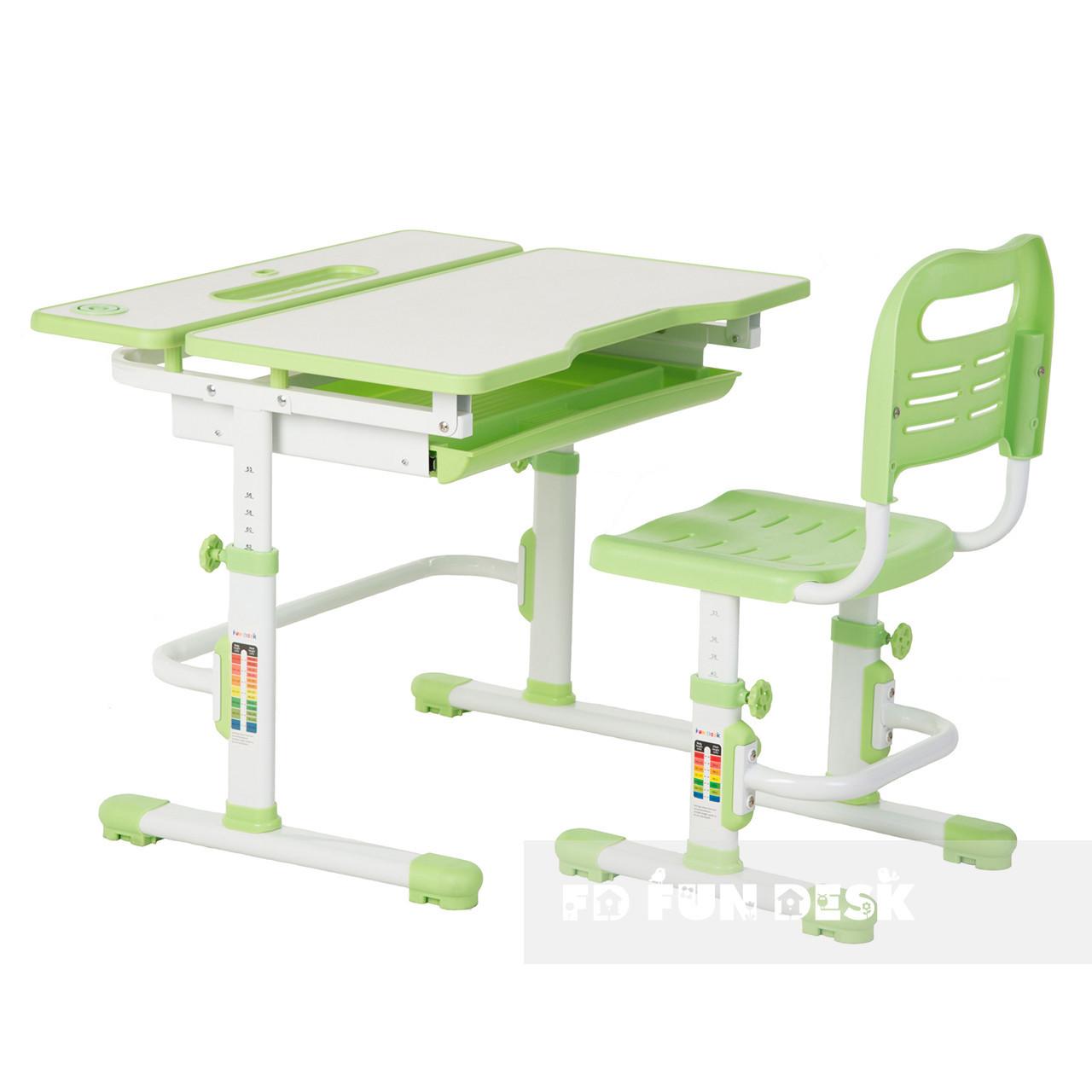Растущая парта + стульчик для школьника Fundesk Lavoro Green - ОПТОМ ДЛЯ ШКОЛ