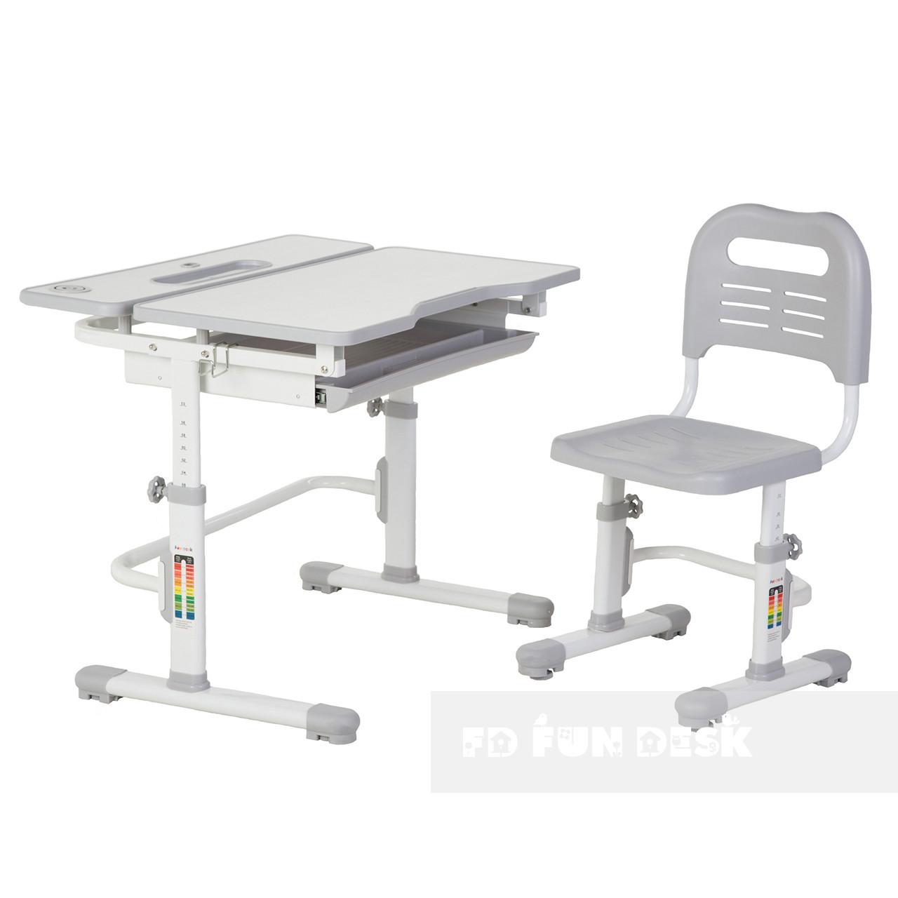 Зростаюча парта + стілець для школяра Fundesk Lavoro Grey - ОПТОМ ДЛЯ ШКІЛ