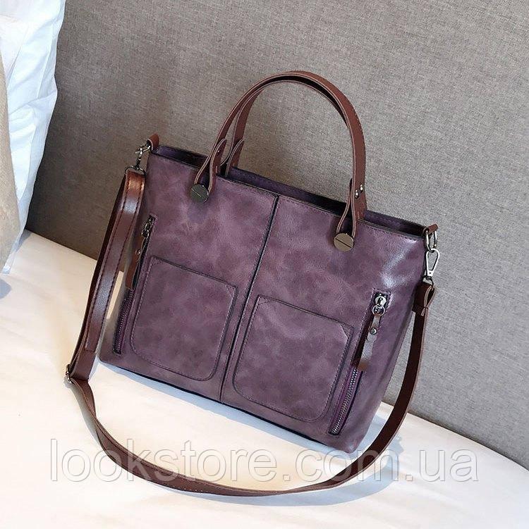 Женская сумка с карманами Prestige фиолетовая