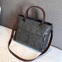Женская сумка с карманами Prestige серая