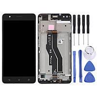 Дисплей для Asus ZenFone 3 Zoom (ZE553KL) с тачскрином и рамкой черный, Navy Black Оригинал