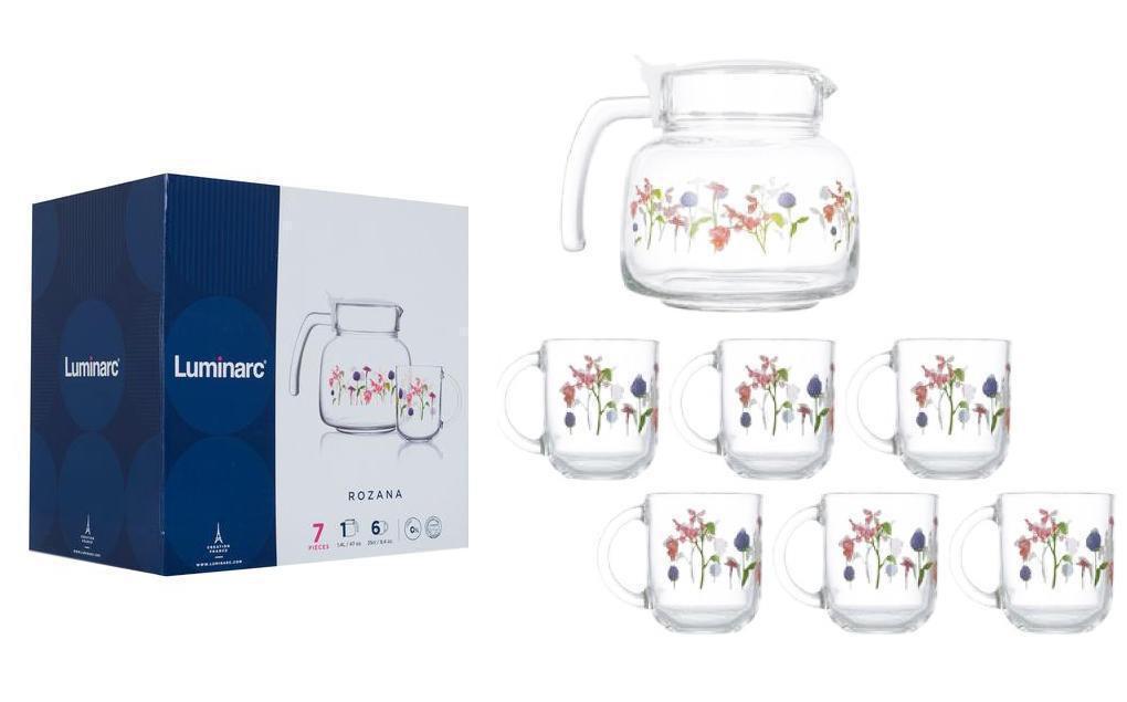 Набір чайний Luminarc Rozana Trefle чашки 250мл 6шт, чайник 1,2 л