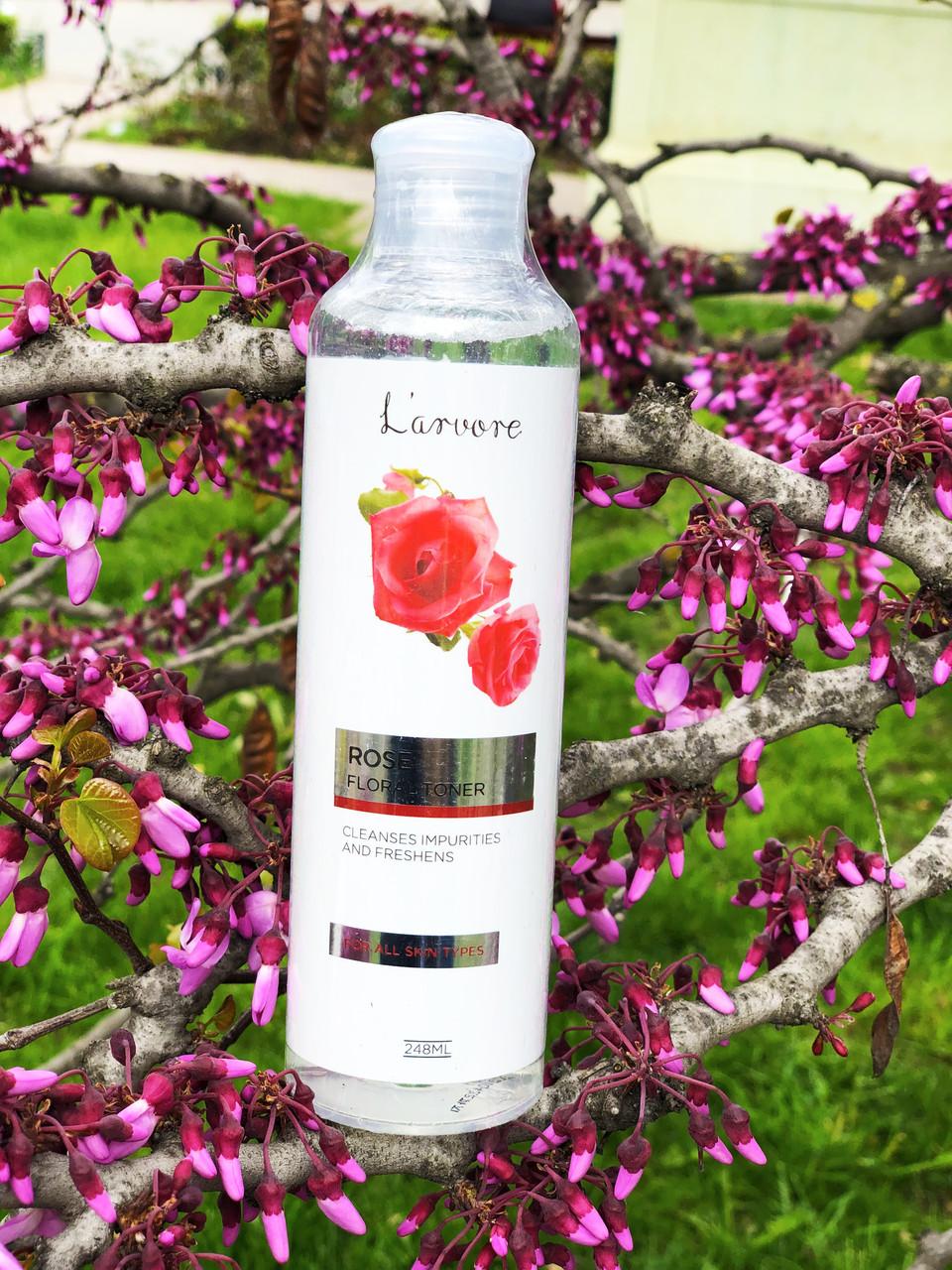 Увлажняющий тонер с розовой водой для лица 248 мл  Larvore(rose)