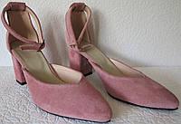 Стильні та зручні жіночі замшеві туфлі Limoda з натуральної замші босоніжки на підборах 6 см каблук пудра