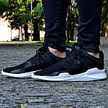 Мужские кроссовки Adidas EQT Support ADV Black&White черные с белым летние в сетку. Живое фото (Реплика ААА+), фото 2