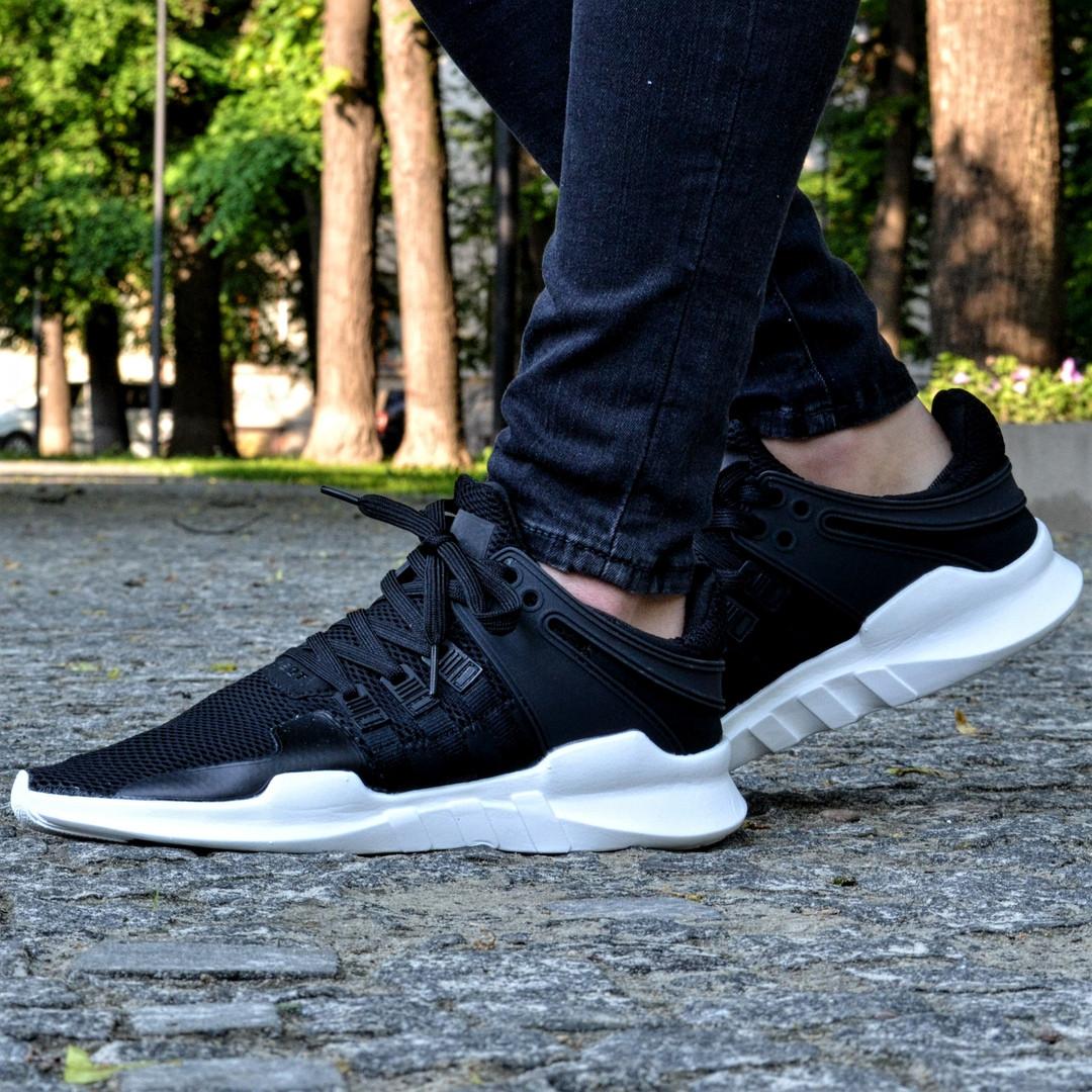 Мужские кроссовки Adidas EQT Support ADV Black&White черные с белым летние в сетку. Живое фото (Реплика ААА+)