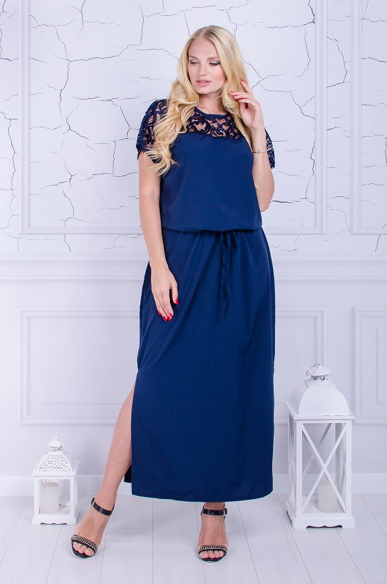 Вечернее платье размер плюс Версаль синее (50-64)