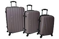 Набор дорожных чемоданов на колесах Siker Line набор 3 штуки Какао, фото 1