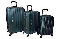 Набор дорожных чемоданов на колесах Siker Line набор 3 штуки Изумрудный, фото 1