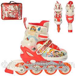 Ролики детские раздвижные A 11123-S-2, размер 31-34, с подсветкой колес, красно-белые