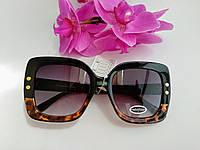 """Женские солнцезащитные очки """"Бабочки"""" черные с леопардовым узором (091)"""