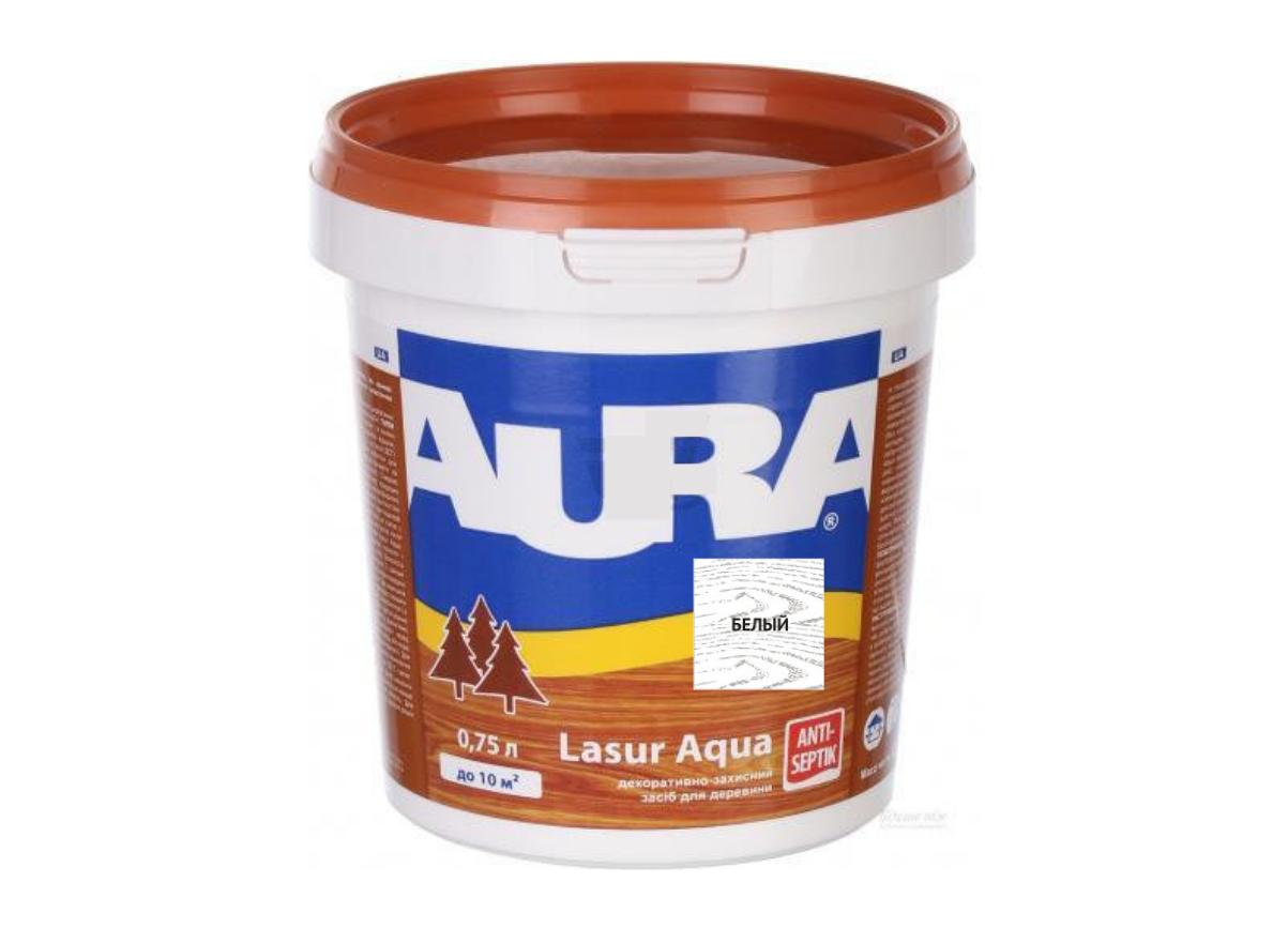 Декоративно-защитное средство для дерева Aura Lasur Aqua Белый 0.75л