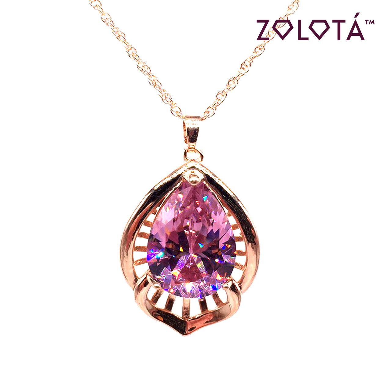 Подвеска на цепочке с розовым фианитом (куб. цирконием), из медцинского золота, в позолоте, ЗЛ00259 (1)