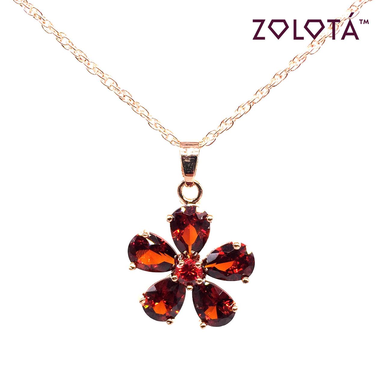Підвіска на ланцюжку з темно-червоними фианитом (куб. цирконієм), з медичного золота, в позолоті, ЗЛ00257 (1)