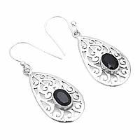 Серьги из серебра с черным ониксом, 417СРО