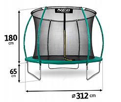 Батут NeoSport 312 см с внутренней сеткой и лесенкой, фото 3