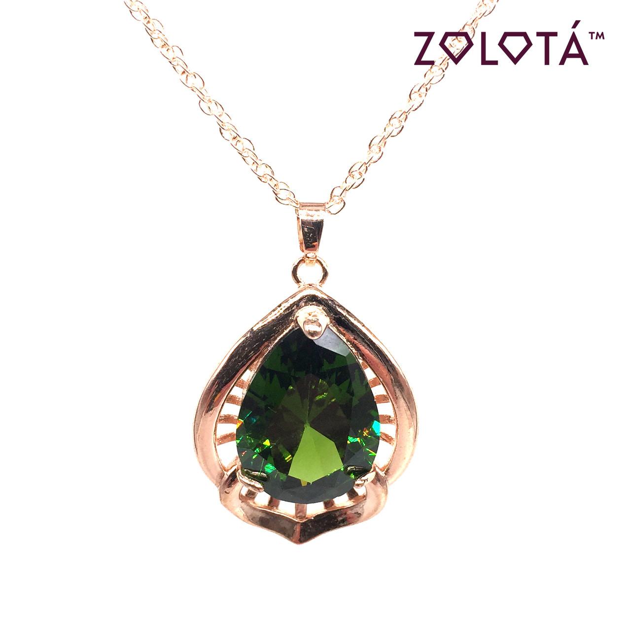 Подвеска на цепочке с зеленым фианитом (куб. цирконием), из медицинского золота, в позолоте, ЗЛ00260 (1)