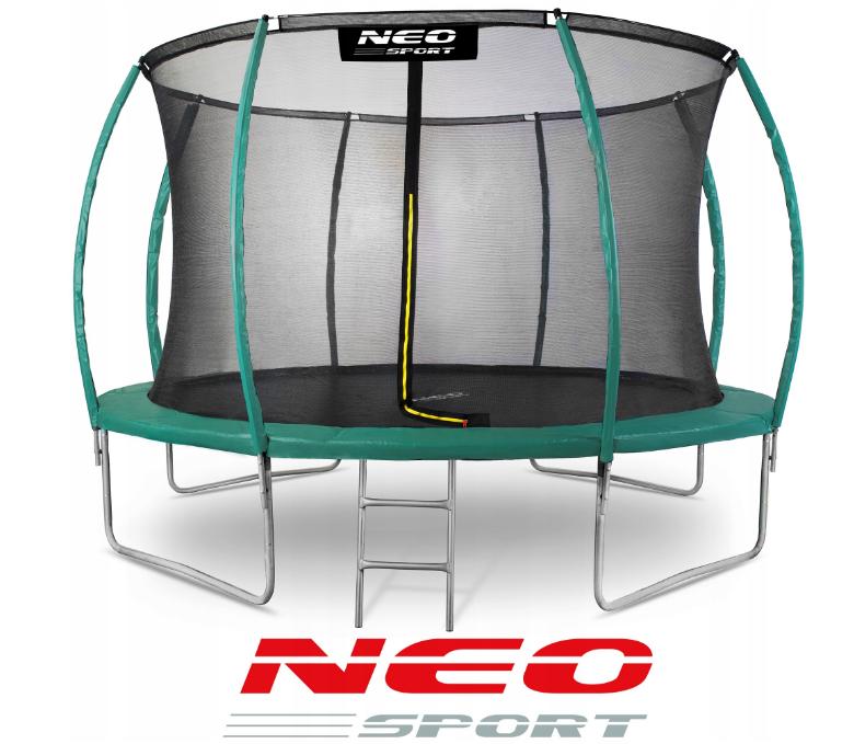 Батут NeoSport 374 см с внутренней сеткой и лесенкой