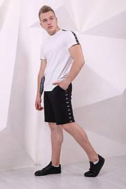 Мужские черные Шорты Adidas с лампасами(реплика)