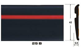 Декоративный молдинг на авто 25 В черный+красная полоса 6х42мм