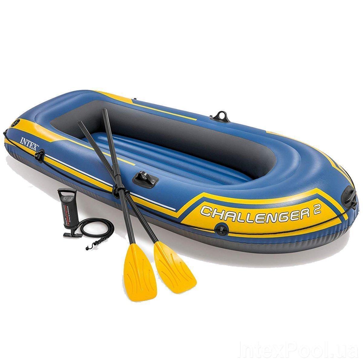 Двухместная надувная лодка Intex 68367 Challenger 2 Set с веслами и насосом