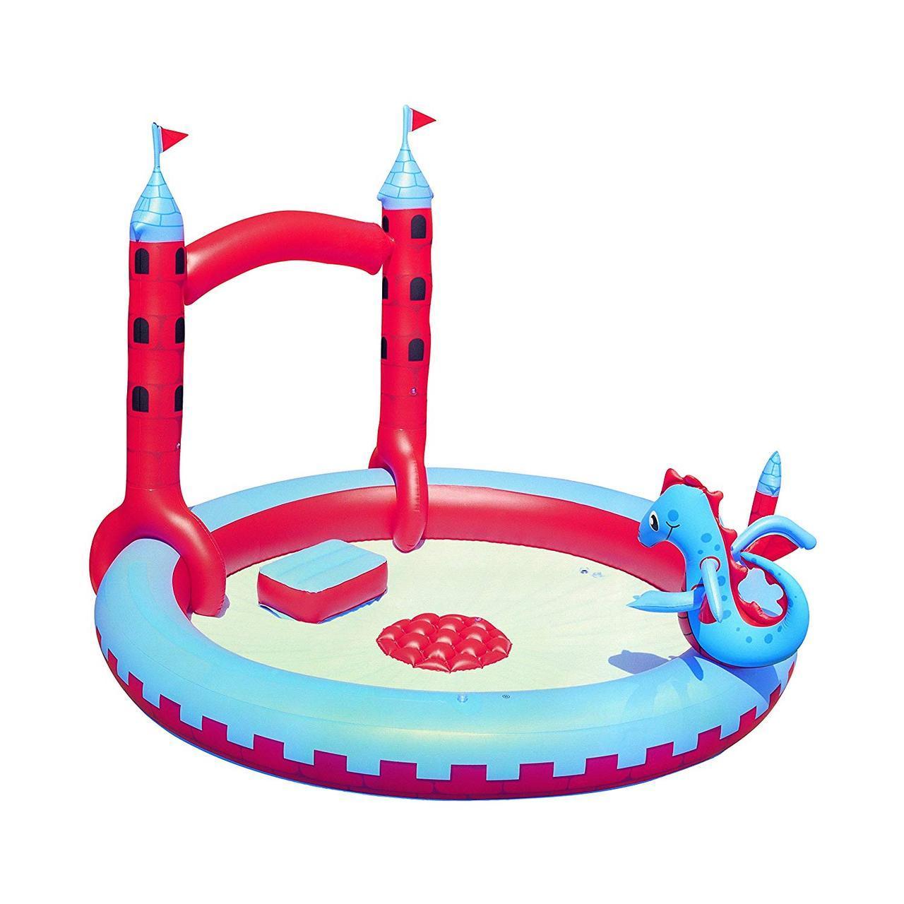 Надувной игровой центр бассейн Bestway 53037 «Замок Дракона» с игрушками и фонтаном