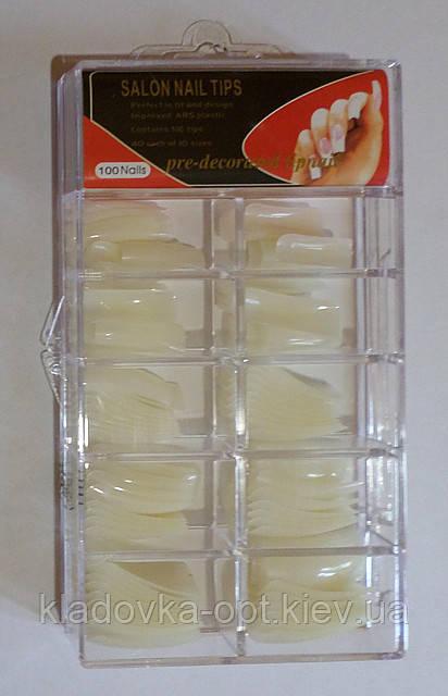 Типсы Global Fashionl для наращивания ногтей, 100 шт. молочніе класика