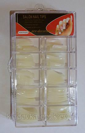 Типсы Global Fashionl для наращивания ногтей, 100 шт. молочніе класика, фото 2