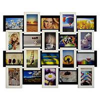 Деревянная мультирамка на 20 фото Классика 20, черно-белая, фото 1
