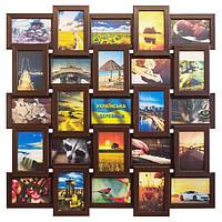 Деревянная мультирамка на 25 фото Классика 25, шоколад (венге), фото 1