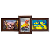 Дерев'яна мультирамка на 3 фото Політ, шоколад (венге)
