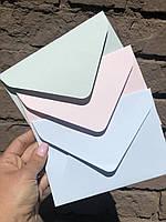 Подарочный конверт С6 из плотной крафт бумаги нежно-зеленый