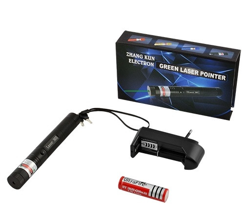 Лазерная указка зеленая 303 с зарядным устройством и ключами