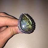 Красивое кольцо с натуральным лабрадором в серебре кольцо капля с лабрадором лабрадор 20,2 размер Индия, фото 4