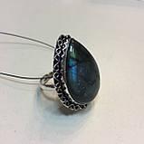 Красивое кольцо с натуральным лабрадором в серебре кольцо капля с лабрадором лабрадор 20,2 размер Индия, фото 6