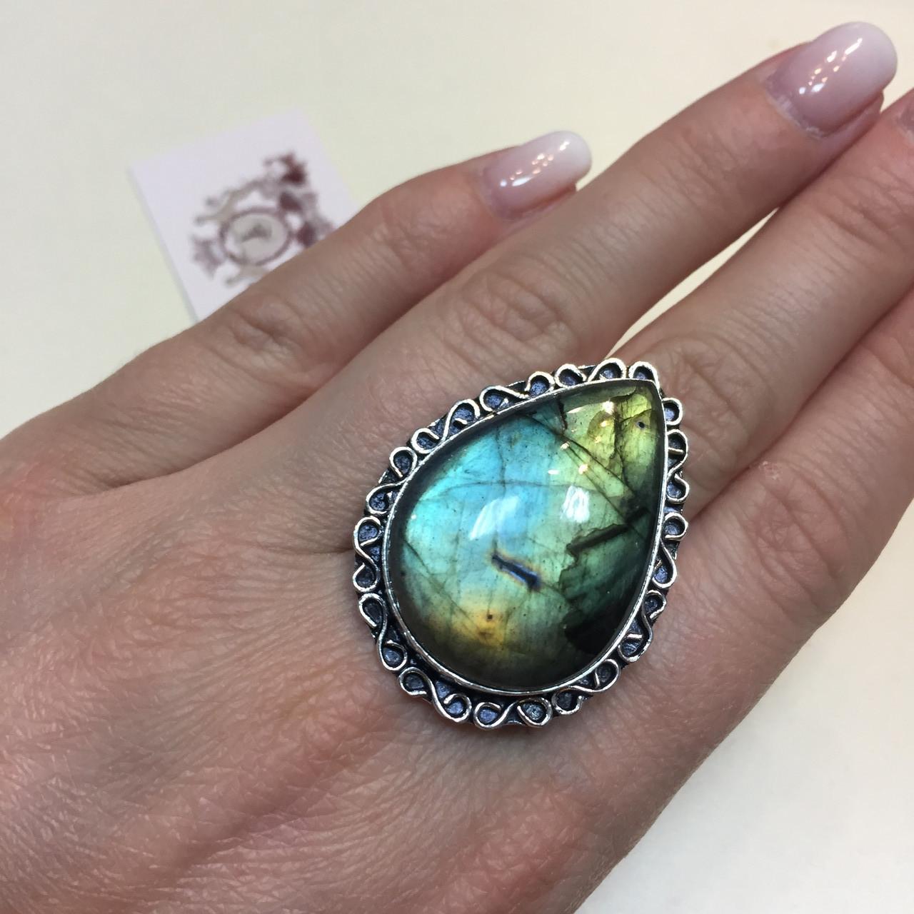 Красивое кольцо с натуральным лабрадором в серебре кольцо капля с лабрадором лабрадор 20,2 размер Индия