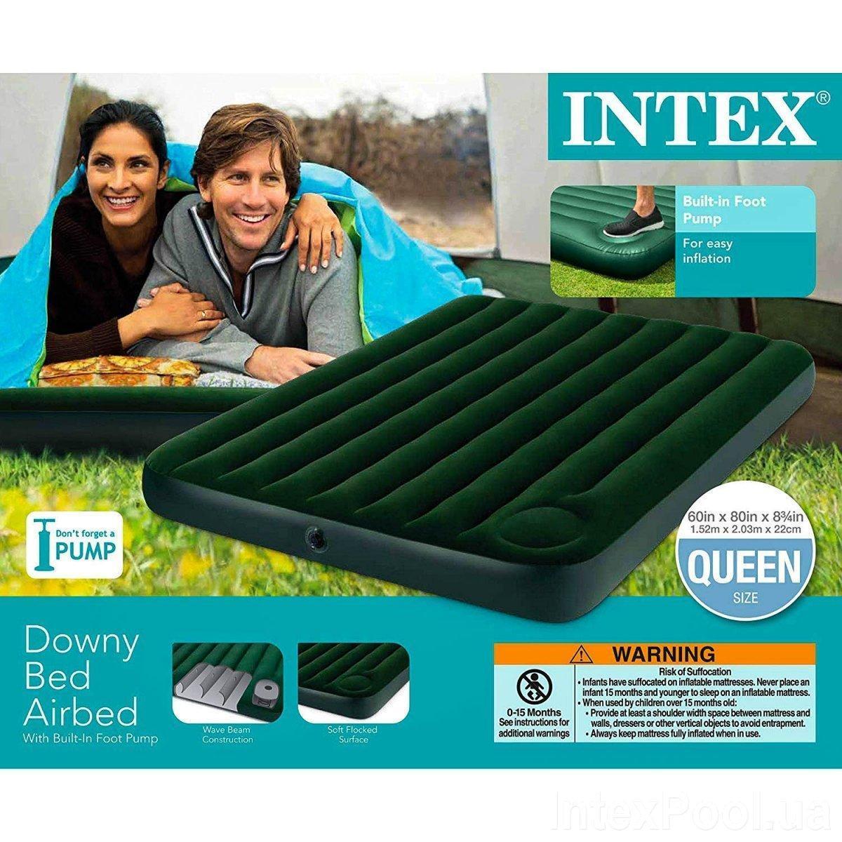 Надувной матрас Intex 66929 со встроенным ножным насосом Двухместный
