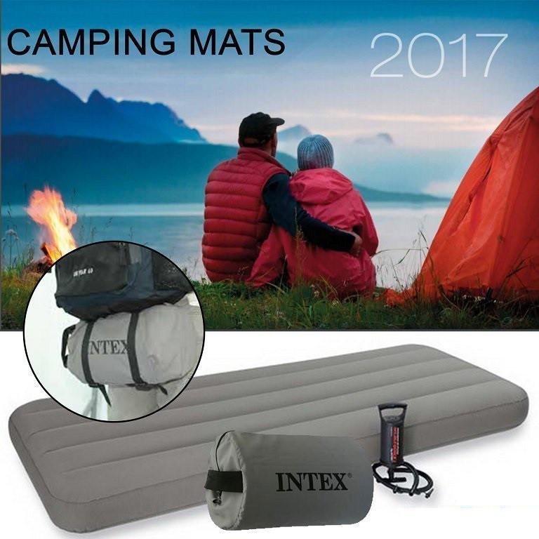 Одноместный надувной матрас Intex 69710 с Ручным насосом в комплекте