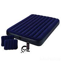 Двухместный надувной матрас Intex 64765 Комплект с двумя подушками и ручным насосом
