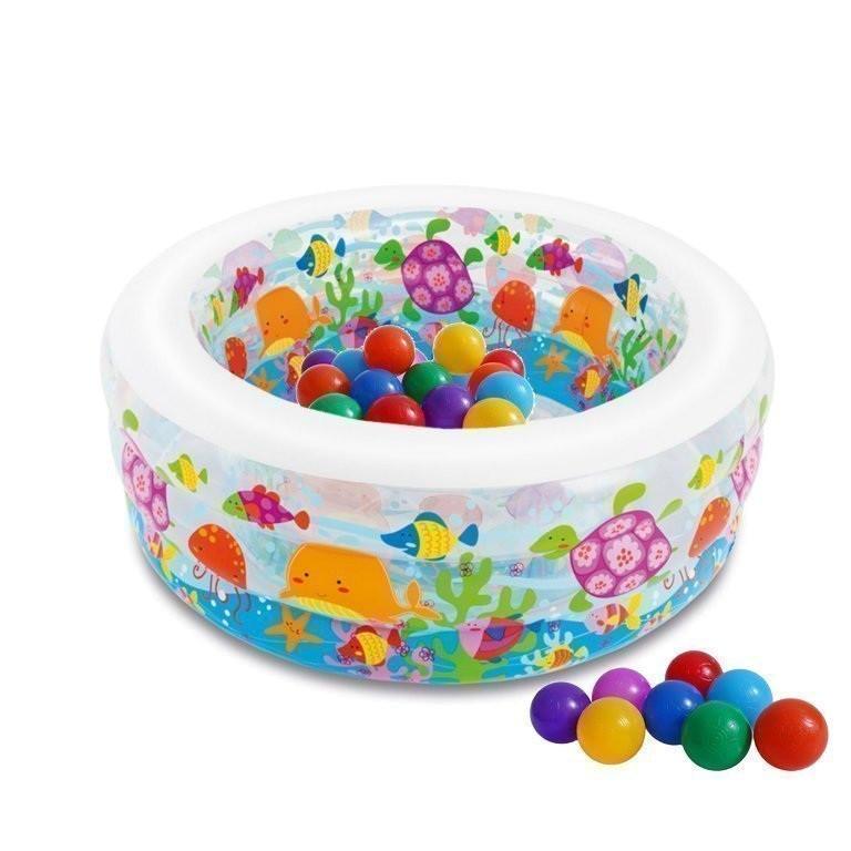 Детский надувной бассейн Intex 58480-1 «Аквариум» с шариками 10 шт