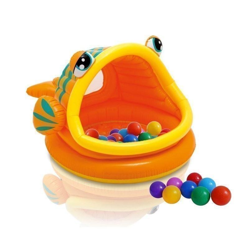 Детский надувной бассейн Intex 57109-1 «Ленивая рыбка» с навесом и шариками 10 шт