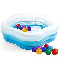 Детский надувной бассейн Intex 56495-1 «Морская звезда» с шариками 30 шт, фото 1