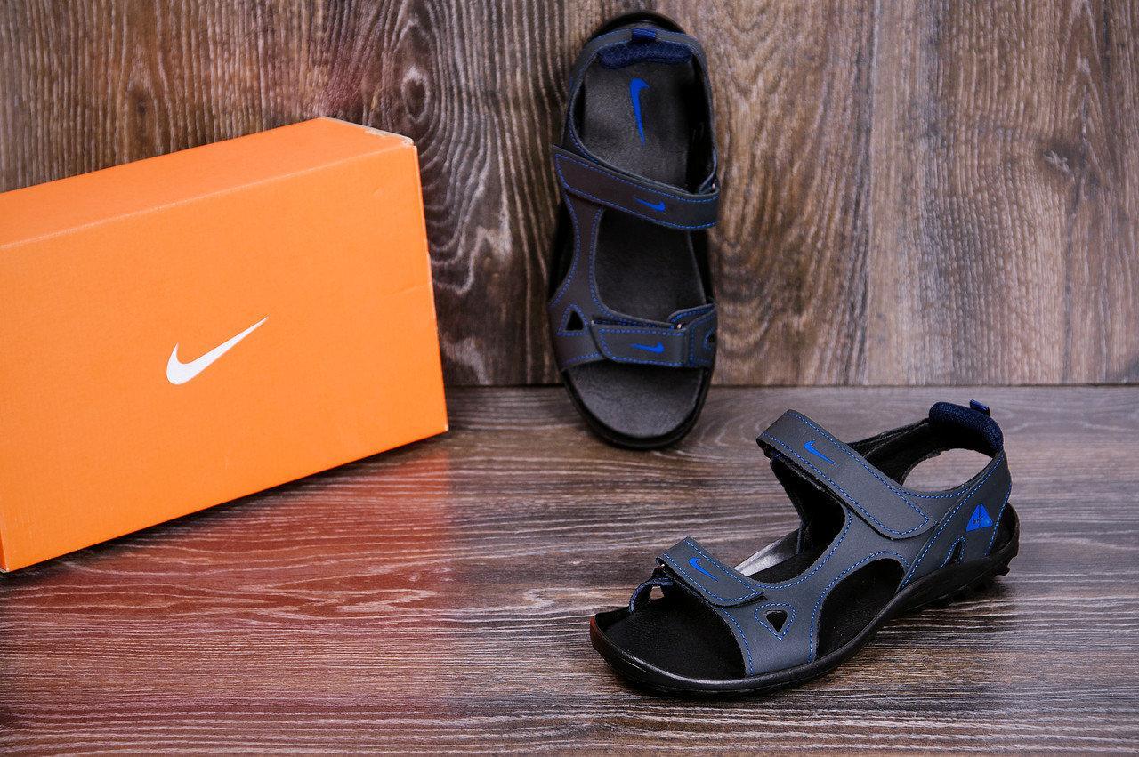Мужские кожаные сандалии в стиле Nike NS Blue