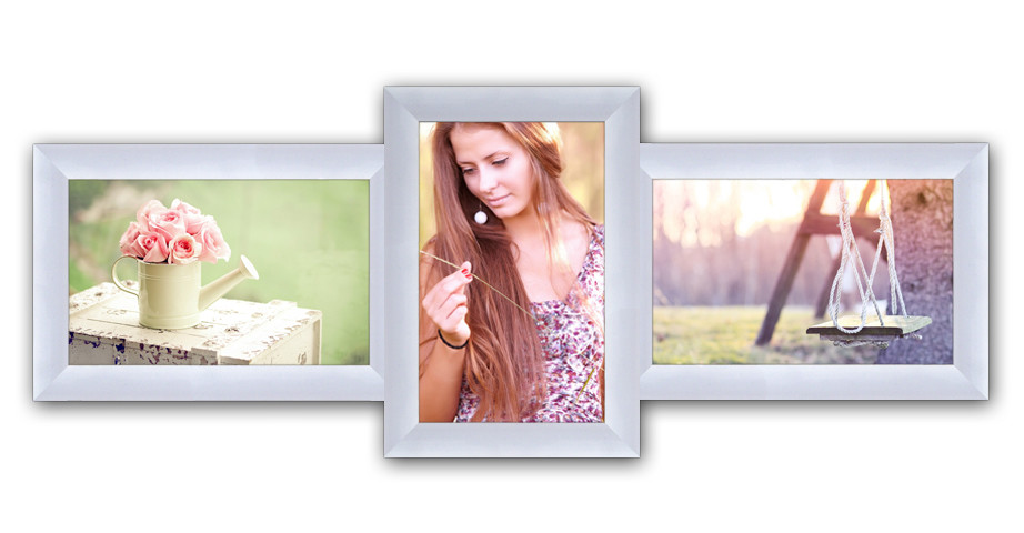 Пластиковая мультирамка на 3 фото Полет, белая
