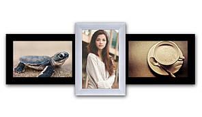 Пластиковая мультирамка на 3 фото Полет, черно-белый